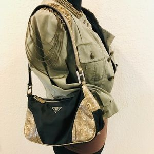 Prada Nylon/Lizard Shoulder Bag⚜
